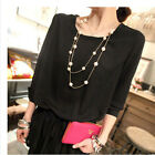 Hot Women Lady MultiLayer Long Pearl Necklace Pendant Sweater Chain Jewelry New