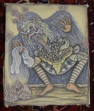 Vintage Signed Balinese Painting of Witch