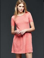 GAP Women Dress Sz S Fit & Flare T-Shirt Peach Orange Knit Slub Jersey New