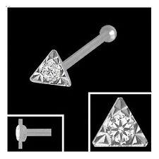 750 Weißgold Nasenpiercing Dreieck 2,7 mm mit Diamant  Nasenstecker Kugelstift