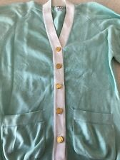 Chanel Women's Cardigan White And Aqua W/Gold Buttons With Handbag Detail