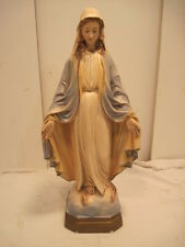 "OLD VINTAGE RELIGIOUS CHALKWAR VIRGIN MARY OPEN ARMS OUTDOOR 17 1/2"" TALL STATUE"