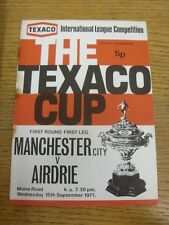 15/09/1971 Manchester City v Airdrieonians [Texaco Cup] (token removed, heavy ru