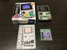 GameBoy Color console Clear Color with BOX and Manual with Pokemon Crystal set