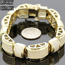 "MEN`S STAINLESS STEEL ICED OUT LAB DIAMOND HIPHOP GOLD BRACELET/9""/90g/E847"