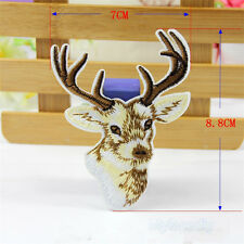 XMAS Deer Embroidery Sew-On Iron-On Patch Badge Fabric Bag Hat Applique Transfer