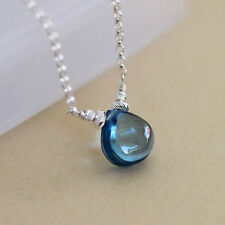 U&C Sundance London Blue Quartz Solitaire .925 Sterling Silver Chain Necklace