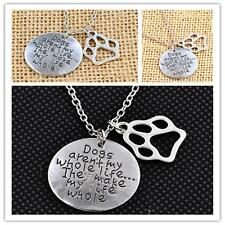Pet Lover Dog Cat Paw Print Tag Rescue Pendant Necklace Alloy Silver Plated KE
