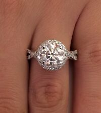 3.02 CT ROUND D/SI1 DIAMOND SOLITAIRE ENGAGEMENT RING ENHANCED 14K WHITE GOLD
