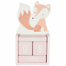 Fox Woodland Friends Perpetual Calendar Block Childrens Bedroom Decor Gift