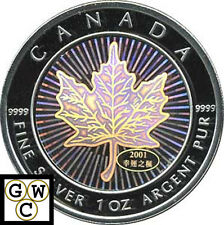 2001 Hologram 1oz Silver Maple Leaf .9999 Fine (10488)