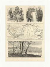 Bilder vom Kongogebiet Afrika Neger Eingeborene Holzstich SUPERPREIS X 1121