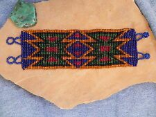 Blue Red Green Black Orange Seed Beads Native American Design Bracelet