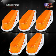 5pcs Cab Marker Roof Running Light Amber Cover + Base Housing For 80-97 Ford