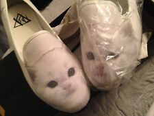 £45 RRP Womens Flat Cat Shoes  pumps  cavas  kitty cat WHITE  uk size 8  New