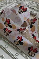 25mm Disney Minnie Mouse Grosgrain Ribbon. Hair Bow, Cake, Gift wrap, Craft