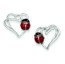 .925 Sterling Silver Polished Double Heart & Enameled Ladybug Post Earrings