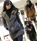 Korean Womens WARM Fleece Lined Hoodie Coat Casual Jumper S M L XL Hooded Jacket