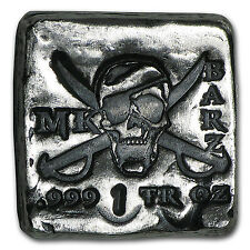 1 oz Silver Square - MK Barz & Bullion (Pirate Skull, Type 1)