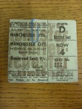 24/01/1970 Ticket: Manchester United v Manchester City [FA Cup] Light Green Tick