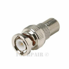 BNC Male Plug to F Female Jack Adapter Coax CCTV RG59 Cable Connector Coupler