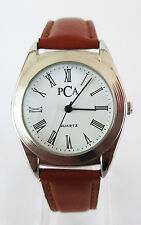 PCA Womens Quartz White Dial Silver-Tone SSteel Case Brown Leather Strap Watch