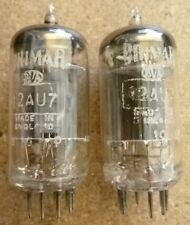 PAIR BRIMAR 12AU7, ECC82 1957 LONG PLATES, HALO GETTER. AVO TESTED.