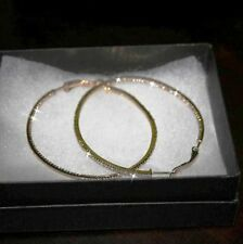 14k Yellow Gold over 925 SS Diamond Alternatives Inside Out Hoop Earrings 2 In