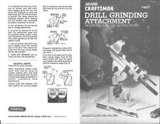 1990s Craftsman 9-6677 /General Drill Grinding Attachment - INSTRUCTIONS ONLY