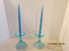 "Vintage Blue Glass Oil 8"" Taper Candle Lot of 2 with vintage candle holder"