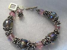 SAKI Pink Quartz Studded 69.3g - Sterling Silver Toggle Bracelet