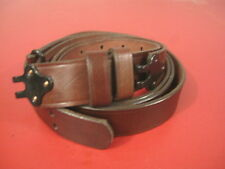 """Military Style Leather Rifle Sling w/Metal Hooks - Two Piece - 1 1/4"""" Wide"""