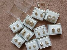 JOBLOT- 10 clip on/pierced stud diamonte earrings. Gift boxed. Silver plated.
