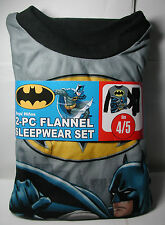 Brand New Boys BATMAN 2 piece Flannel Pajamas Sleepwear Set Size 4/5 4 5