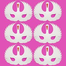 6 Foam White Swan Masks - Fancy Dress For Children & Grown Ups