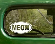 Oval Meow Decal 2 Cat Kitty Stickers Euro Style Vinyl, Cars, bumper, Laptops