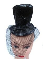 LADIES MINI GLITTER TOP HAT FASCINATOR 1920'S FANCY DRESS BURLESQUE HEADBAND