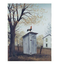New Country Primitive Farmhouse Outhouse Rooster Picture Canvas Wall Plaque