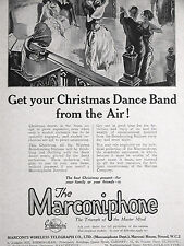 Marconi Wireless Telegraph MARCONIPHONE Advertising Phonograph  Ad 1923 Matted
