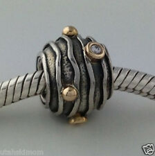 Authentic Pandora Silver &14K Wavy Dark Lines W/ Diamond Bead Charm 79209D New