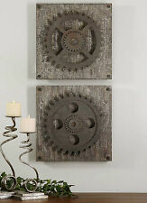 SET OF TWO DECORATIVE GEARS WALL ART RUSTIC OR CONTEMPORARY GARAGE MAN CAVE