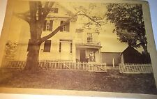 Antique Victorian American Outdoor House Lady On Porch Mrs. Little Cabinet Photo