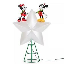 Disney Store MICKEY & MINNIE Mouse Lights Up Christmas Tree Star Topper 2016 Ed.