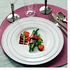 Disposable Plastic Plates 100 Luxury Silver Rimmed High Quality Party Tableware