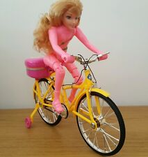 DOLL BICYCLE ELECTRIC AUTOMATIC BIKE LED LIGHTS & MUSIC PINK GIRLS TOYS  28CM