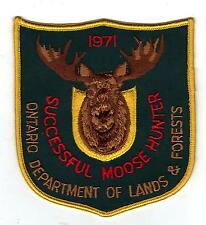 1971 ONTARIO MNR MOOSE HUNTER PATCH -MICHIGAN DNR DEER-BEAR-CREST-BADGE-ELK-FISH