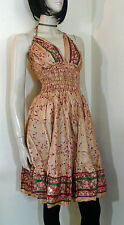 Halter Neck Indian Dress Size 10 / 12 Festival Boho Chic Summer Dress Beachwear
