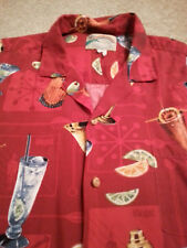 PARADISE FOUND Men's Hawaiian Style 100% RAYON 2XL XXL RED COCKTAILS S/S Shirt
