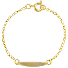 18k Gold Plated Baby Oval Tag Children Kids ID Bracelet 4.5""
