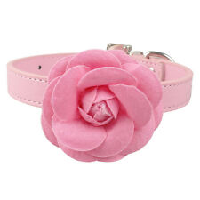 Big Flower Soft PU Leather Durable Pet Dog Cat Collars For Girly Pet  XS S M L